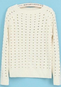 Beige-White Plain Hollow-out Long Sleeve Sweater
