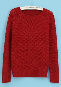 Red Plaid Long Sleeve Knit Sweater
