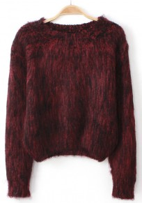Wine Red Plain Fur Pullover