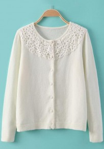 Beige Patchwork Single Breasted Cardigan