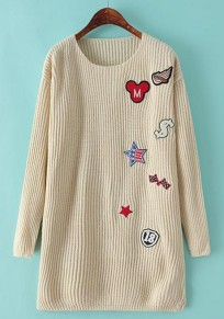 Beige Print Appliques Pullover