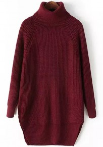 Wine Red Plain Irregular High Neck Pullover Sweater