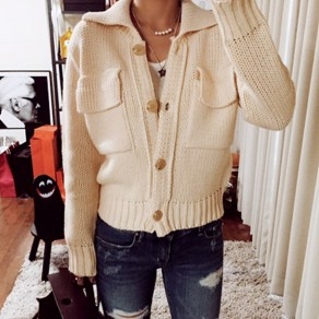Light Aprico Plain Pockets Single Breasted Slim Cardigan Sweater