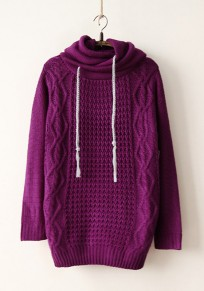 Purple Plain Drawstring Hooded Sweet Pullover Sweater