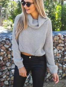 Grey Plain Hollow-out High Neck Pullover Sweater