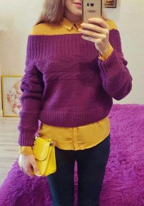 Purple Plain Boat Neck Long Sleeve Pullover Sweater
