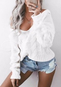 White Plain V-neck Long Sleeve Fashion Pullover Sweater