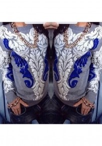 Grey Floral Pattern Round Neck National Acrylic Pullover Sweater