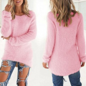 Pink Plain Round Neck Long Sleeve Casual Pullover Sweater
