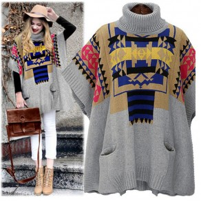 Grey Floral National Dolman Elbow Sleeve High Neck Loose Cute Pullover Sweater