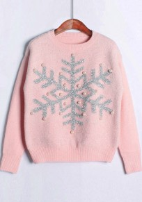 Pink Snowflake Print Pearl Bright Wire Fashion Pullover Sweater
