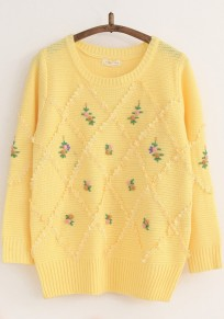 Light Yellow Print Embroidery Pullover