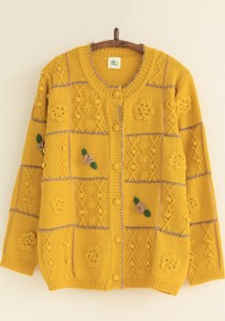Yellow Plaid Appliques Sweet Cardigan