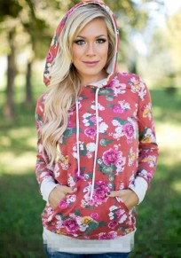Red Floral Drawstring Pockets Hooded Long Sleeve Casual Sweatshirt