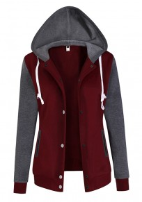 Wine Red Pockets Single Breasted Hooded Casual Sweatshirt