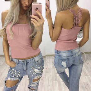 Pink Patchwork Lace Hollow-out Backless Spaghetti Strap Vest