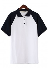 Navy Blue Patchwork Buttons Polo Neck T-Shirt