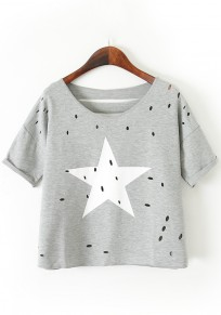 Grey Print Hollow-out Short Sleeve T-Shirt