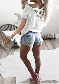 White Hollow-out Bandage Round Neck Casual Slim T-Shirt
