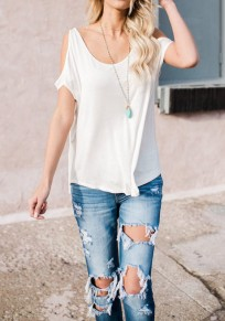 White Cut Out Off-Shoulder Round Neck Short Sleeve Casual T-Shirt