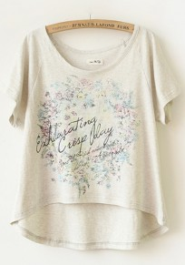 Grey Print Irregular Short Sleeve T-Shirt