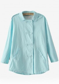 Blue Plain Buttons Trench Coat