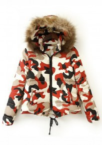 Red Camouflage Drawstring Hooded Padded Coat