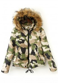 Green Camouflage Drawstring Hooded Padded Coat