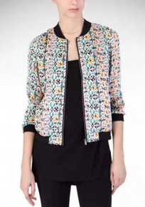 Multicolor Patchwork Geometric Print Zipper Trench Coat