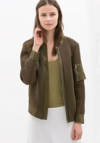 Khaki Patchwork Zipper Polyester Trench Coat