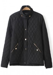 Black Plaid Zipper Paddad Coat