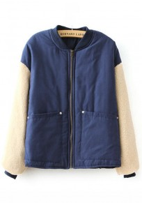 Navy Blue Patchwork Pockets 2-in-1 Padded Coat
