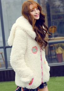 White Cartoon Appliques Sweet Hooded Coat