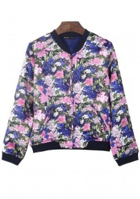 Pink Flowers Zipper Polyester Trench Coat