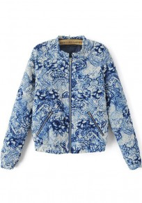 Blue Floral Print Trench Coat