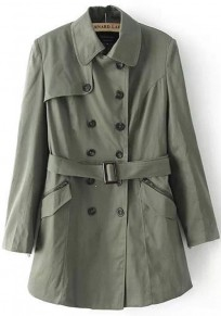 Army Green Plain Belt Long Sleeve Trench Coat