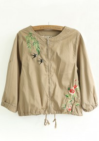 Khaki Flowers Embroidery Trench Coat