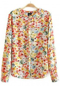 Yellow Floral Print Single Breasted Blouse