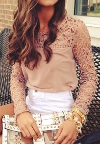 Pink Patchwork Lace Hollow-out Sweet Blouse