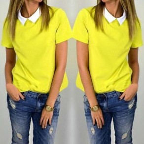 Yellow Patchwork Turndown Collar Short Sleeve Loose Blouse