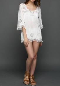 White Patchwork Lace Hollow-out Wavy Edge Comfy Half Sleeve Blouse