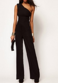 Black Plain Collarless Sewing Mid-rise Slim Long Jumpsuit