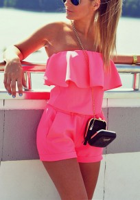 Pink Plain Ruffle Slim Casual Dacron Short Jumpsuit
