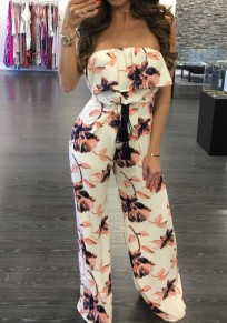 White Flowers Print Ruffle Boat Neck Drawstring Waist Long Jumpsuit