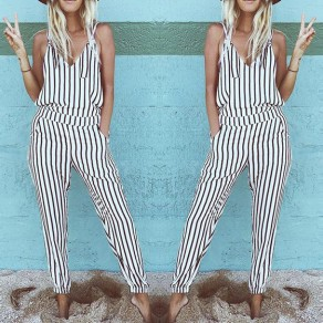 White-Black Striped Print Elastic Waist One Piece Long Jumpsuit