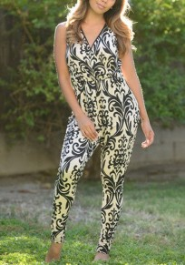 Black Floral Sewing Mid-rise Fashion Slim Long Jumpsuit