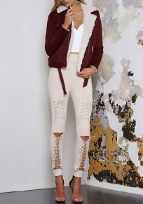 Khaki Patchwork Cut Out Lace-up High Waisted Long Jeans