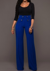 Blue Patchwork Buttons Zipper High Waisted Wide Leg Palazzo Pants