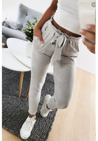 White Pockets Ruffle Drawstring Waist Casual Nine's Pants
