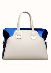 Blue Zipper Patchwork Cotton Lining PU Leather Tote